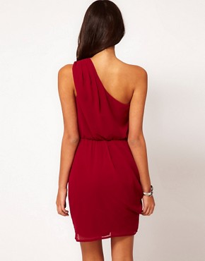 Image 2 ofASOS One Shoulder Dress With Gathered Waist