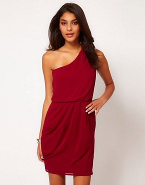 Image 1 ofASOS One Shoulder Dress With Gathered Waist