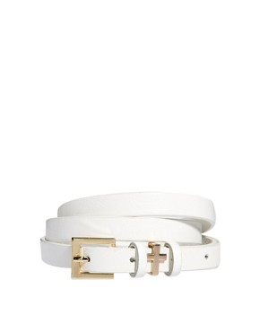 Image 1 ofASOS Skinny Cross Metal Keeper Waist Belt