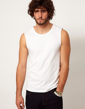 Image 1 ofASOS Sleeveless T-Shirt With Bound Scoop Neck