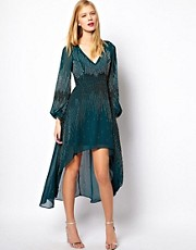 ASOS Embellished Dress With Dipped Hem And Blouson Sleeve