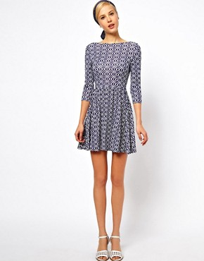 Image 4 ofASOS PETITE Exclusive Skater Dress In Blue Geo Print