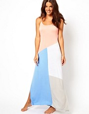 River Island Coral Alba Colour Block Beach Maxi Dress