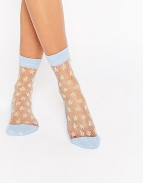 ASOS Sheer Star Glitter Ankle Socks