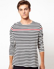 Samsoe Samsoe Stripe Long Sleeve Top With Boat Neck