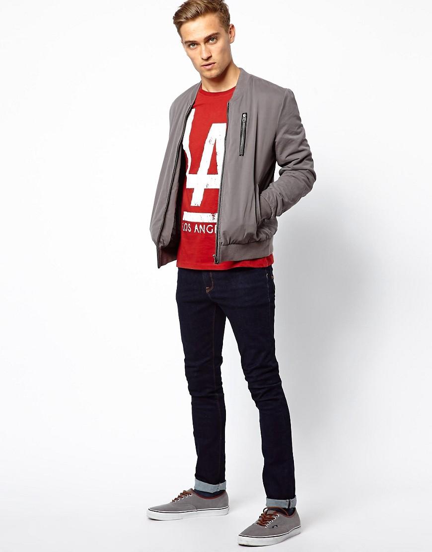 Image 4 ofASOS T-Shirt With LA Print And Roll Sleeve