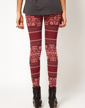 Image 2 ofRiver Island Red Aztec Print Legging