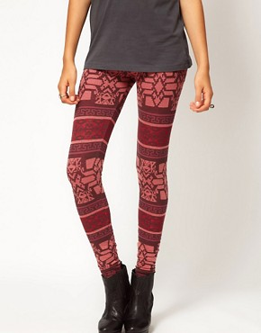 Image 4 ofRiver Island Red Aztec Print Legging