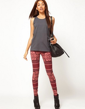 Image 1 ofRiver Island Red Aztec Print Legging