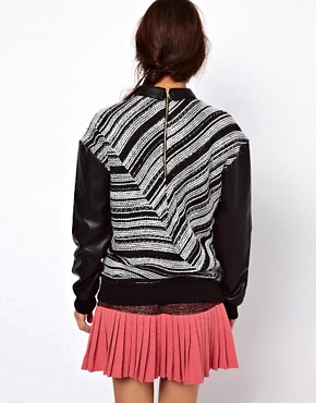 Image 2 ofThree Floor Collide Stripe Sweatshirt With Contrast PU Sleeves