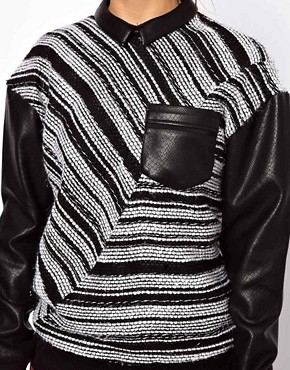 Image 3 ofThree Floor Collide Stripe Sweatshirt With Contrast PU Sleeves