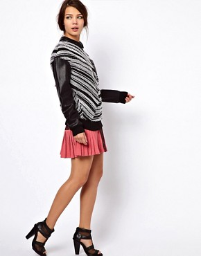 Image 4 ofThree Floor Collide Stripe Sweatshirt With Contrast PU Sleeves