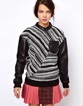 Image 1 ofThree Floor Collide Stripe Sweatshirt With Contrast PU Sleeves