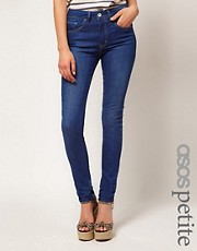 ASOS PETITE High Waist Skinny Jeans in Vintage True Blue