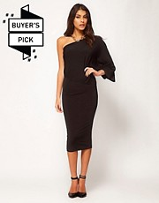 ASOS Midi Bodycon Dress With Drape One Shoulder