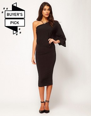 Image 1 ofASOS Midi Bodycon Dress With Drape One Shoulder