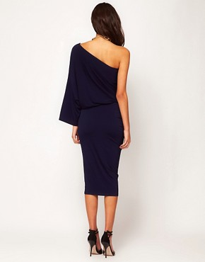 Image 2 ofASOS Midi Bodycon Dress With Drape One Shoulder