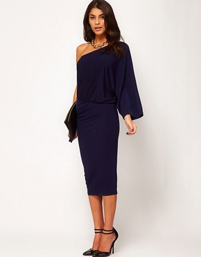 Image 4 ofASOS Midi Bodycon Dress With Drape One Shoulder