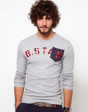 Image 1 ofG Star Long Sleeve Top Hatchback 1 Pocket Logo
