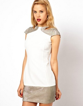Image 2 ofASOS PETITE Exclusive Backless Dress With Hologram Cut Out