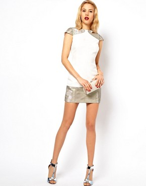 Image 4 ofASOS PETITE Exclusive Backless Dress With Hologram Cut Out