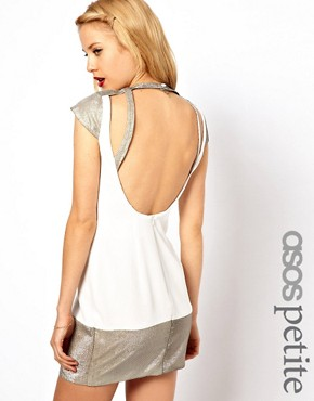 Image 1 ofASOS PETITE Exclusive Backless Dress With Hologram Cut Out