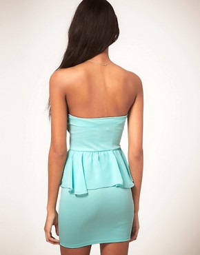 Image 2 of Oh My Love Bandeau Chiffon Peplum Dress