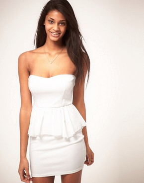 Image 1 ofOh My Love Bandeau Chiffon Peplum Dress