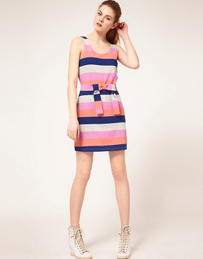 Image 4 ofVila Multi Stripe Tie Front Dress