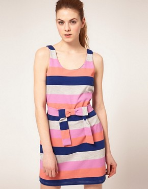 Image 1 ofVila Multi Stripe Tie Front Dress