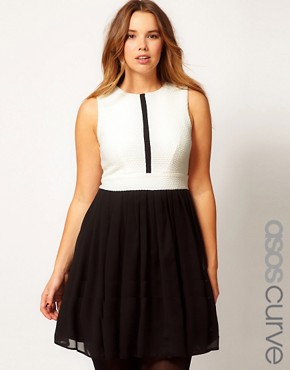 Image 1 ofASOS CURVE Skater Dress In Colourblock