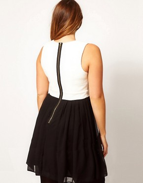 Image 2 ofASOS CURVE Skater Dress In Colourblock