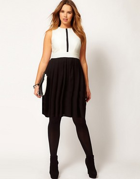 Image 4 ofASOS CURVE Skater Dress In Colourblock