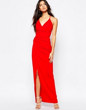 Fleur East By Lipsy Strappy Cage Back Ruched Maxi Dress