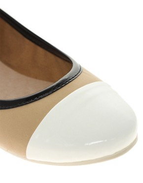 Image 2 ofFrench Connection Pompei Contrast Toe Ballet Flats
