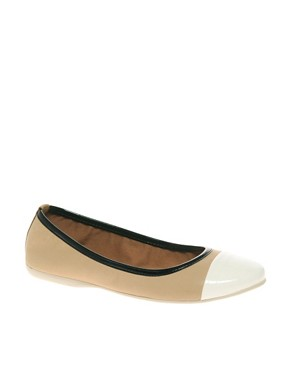 Image 1 ofFrench Connection Pompei Contrast Toe Ballet Flats