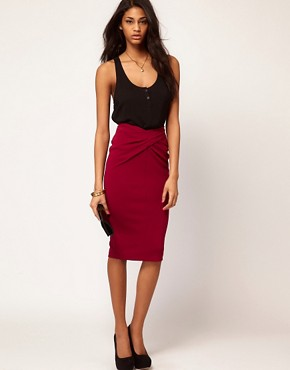 Image 1 ofASOS Ponti Pencil Skirt with Twisted Waistband