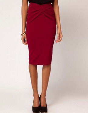 Image 4 ofASOS Ponti Pencil Skirt with Twisted Waistband