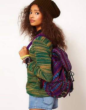 Image 3 ofASOS Aztec Backpack Bag With Leather trims