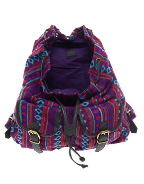 Image 4 ofASOS Aztec Backpack Bag With Leather trims