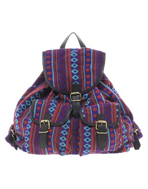 Image 1 ofASOS Aztec Backpack Bag With Leather trims