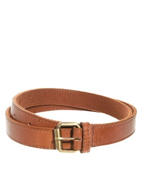 Image 1 of ASOS Leather Belt With Web Back