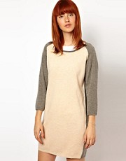 WoodWood Lis Knitted Dress with Contrast Sleeve