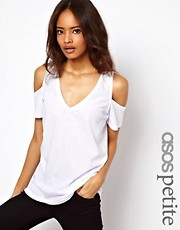 ASOS PETITE T-Shirt with V Neck and Cold Shoulder