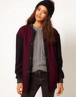 Image 1 ofASOS Bomber Jacket With Pu Rib Inserts