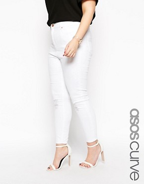 ASOS CURVE Ridley Ankle Grazer Jeans In White With Rip And Destroy Bust