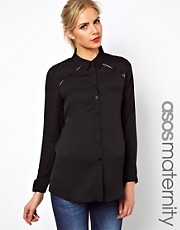 ASOS Maternity Shirt With Peekaboo Shoulder