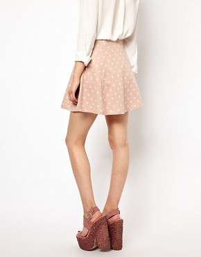 Image 2 ofRiver Island Heart Printed Skater  Skirt