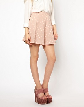 Image 4 ofRiver Island Heart Printed Skater  Skirt
