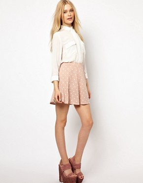 Image 1 ofRiver Island Heart Printed Skater  Skirt